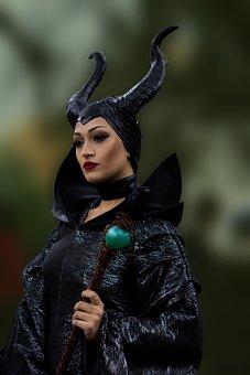 Maleficent, Costume, Film, Black, Person, Photo
