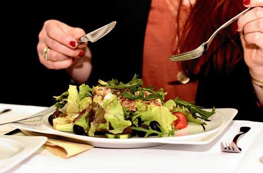 Salad, Salad Plate, Restaurant, Cutlery, Eat, Fresh