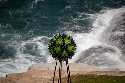 Sculpture, Ball, Metal, Glass, Ocean, Waves, Water