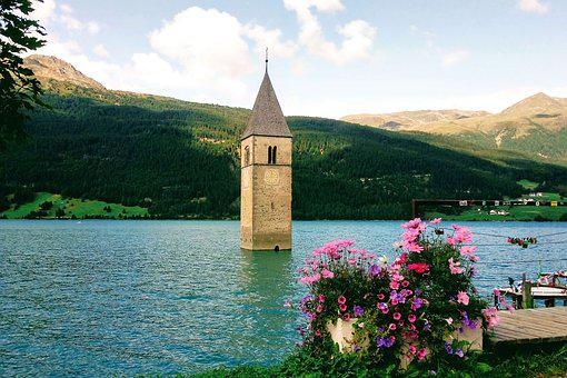 Reschensee, Lake, Church, Plant, Mountains, South Tyrol