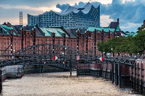 Speicherstadt, Bridge, Hamburg, Architecture, Building