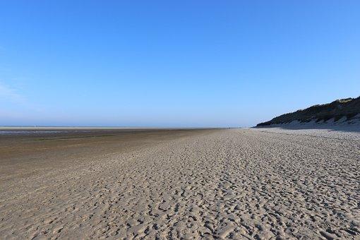 Wide, Wadden Sea, Spiekeroog, Blue Sky, Rest