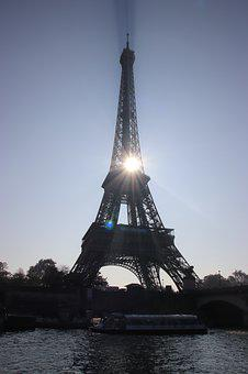 Paris, Eiffel Tower, Magic, Sun, Seine, Metal, Beam