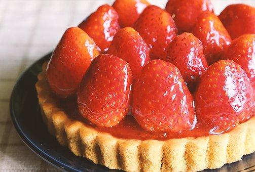 Strawberry Tart, Cake, Strawberry, Dessert, Tart, Sweet