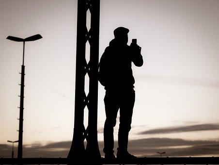 Man, View, Silhouette, Street Art, Mobile Phone, Photo
