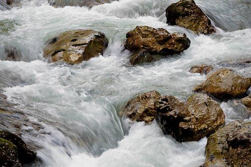 Water, Flow, Stones, Spray, Wave
