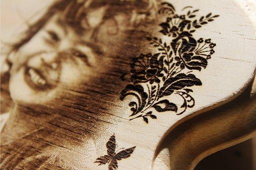 Wooden Laser Engrave, Border, Flower Engrave Laser
