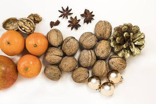 Walnut, Mandarin, Apple, Anise, Snack, Fresh, Healthy
