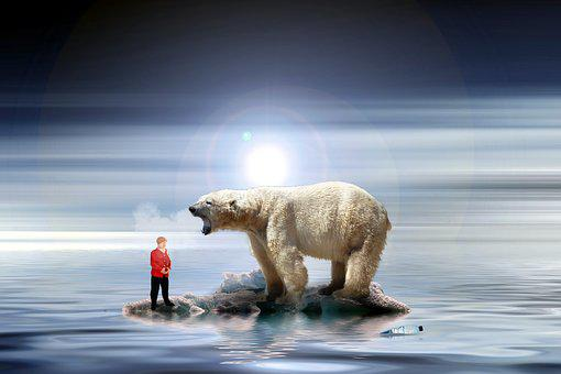 Merkel, Climate Change, Miniature Figures, Polar Bear