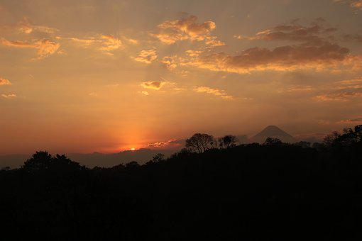 Down, Sunset, Volcano, View, Sun, Sky, Silhouette