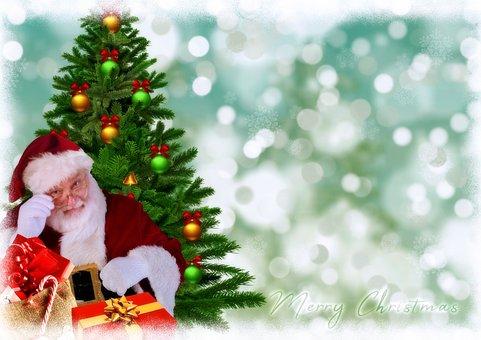 Santa Claus, Fir Tree, Christmas Motif, Gifts