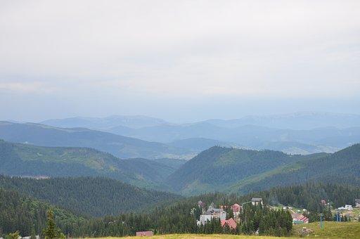 Mountains, The Carpathians, Summer, Fog, A Town