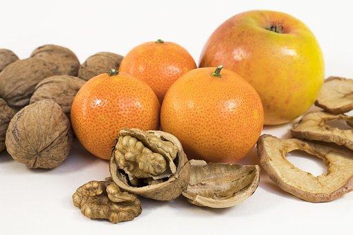 Walnut, Mandarin, Apple, Snack, Fresh, Healthy, Advent