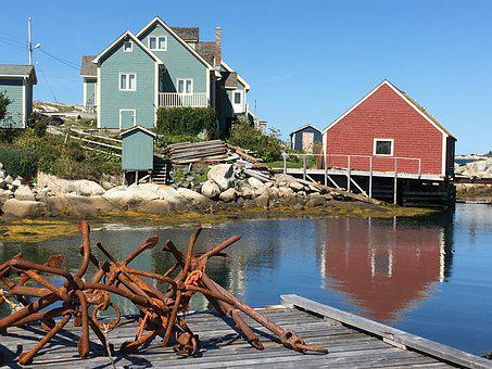Peggy S Cove, Rusty Anchors, Houses By Water, Red House