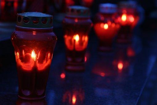 All Saints, Red Candles, Lantern, Illumination, Light