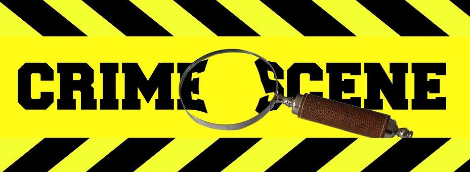 Crime Scene, Tape, Magnifying Glass, Lens, Poster