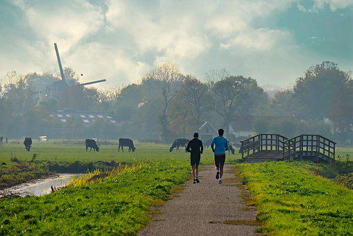 People, Running, Road, Landscape, Grass, Dutch, Mill