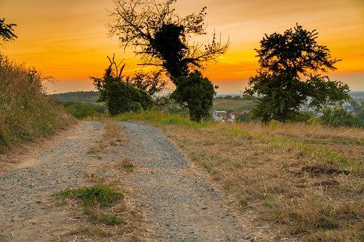 Sunset, Away, Landscape, Road, Nature, Sky, Path