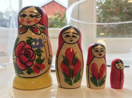 Russian, Dolls, Toy, Painted, Wooden, Nesting, Babushka