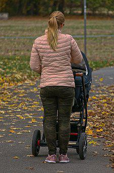 Woman, Baby Carriage, Park, Autumn, Walk, Movement
