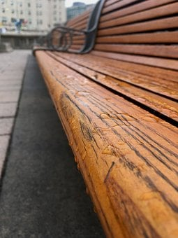 Bench, Rain, Water, Weather, Wood