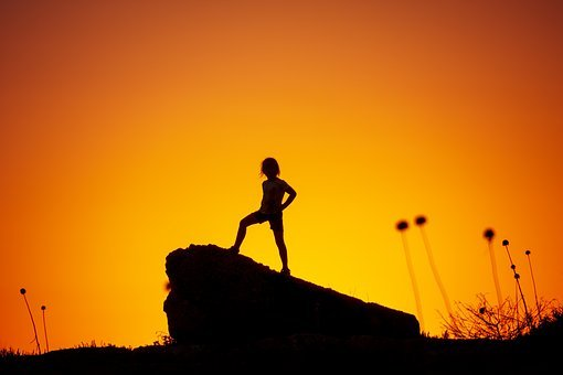 Sunset, Silhouette, Person, Orange, Plant, Rock, Girl