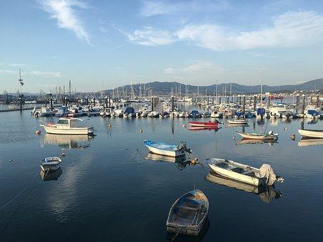 Boats, Sea, Boat, Sky, Ocean, Lake, Blue, Sunrise