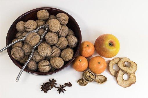 Walnut, Mandarin, Apple, Zimtstern, Snack, Fresh