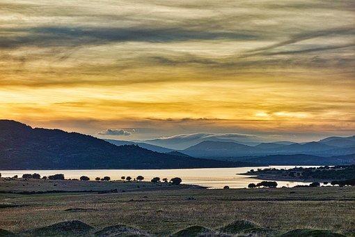 Sunset, Santillana, Marsh, Manzanares El Real, Water