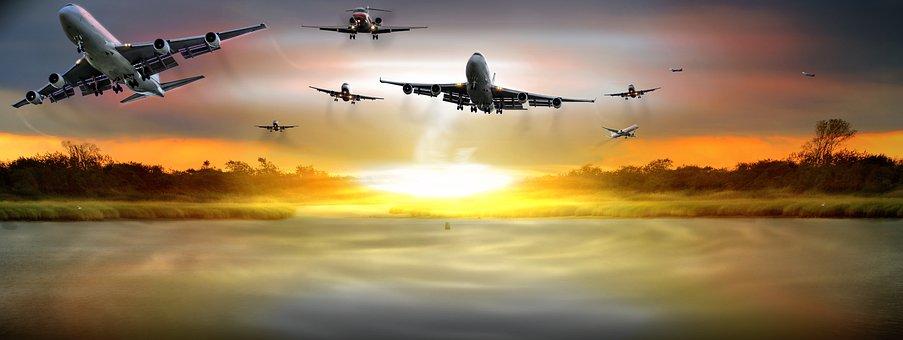 Sky, Clouds, Aircraft, Passenger Aircart