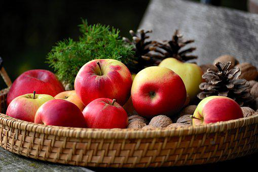 Apple, Walnuts, Fruit Basket, Vitamins, Fruit, Eat