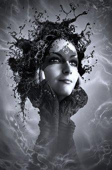 Book Cover, Portrait, Woman, Head, Surreal, Face, Black