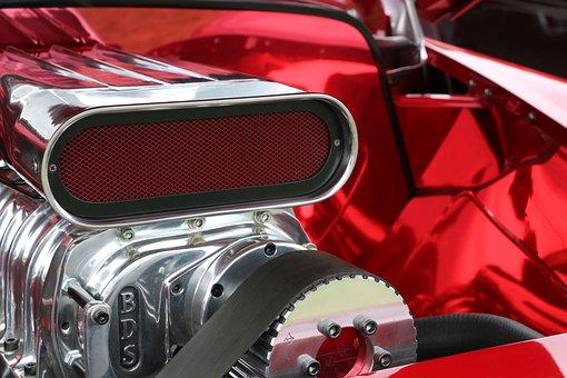 Car, Motor, Engine, Red, Shiny, Chrome, Automotive