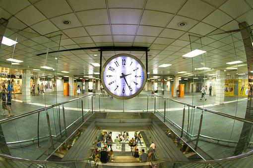 Station, Train, Plaza, Catalonia, Clock