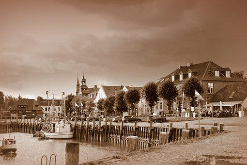 Village, Sea, City, Old, Sepia, Water, Coast, Travel