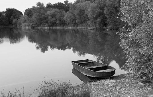 Black White, Water, Lake, Boat, Forest, Mirroring, Sky