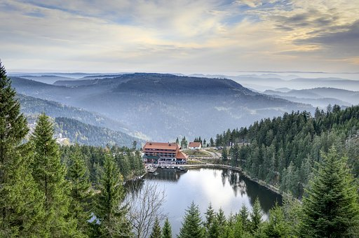 Lake, Mountains, Black Forest, Forest, Hotel, Mummelsee