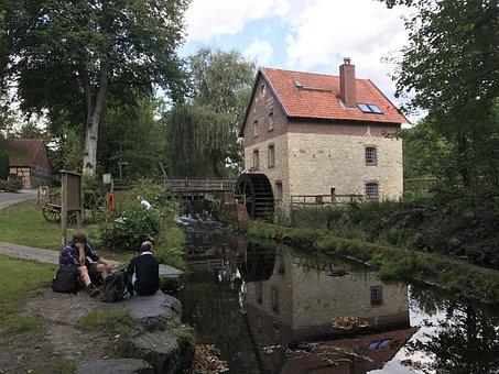 Water Mill, Bach, Mill, Mill Wheel, Building, Landscape