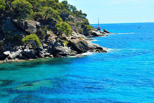 Sea, Bay, Water, Ocean, Sky, Summer, Blue, Rock