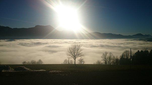 Mondsee, Winter, Salzkammergut, Backlighting