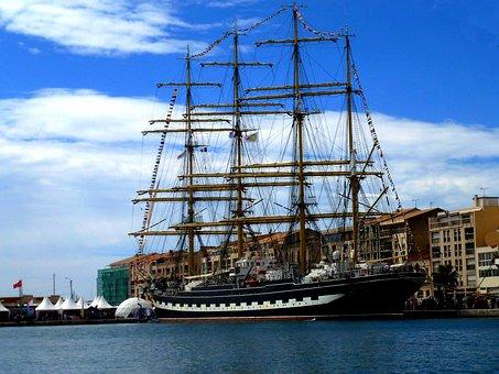 Boat, Sailboat, Sète, Ship Russian School, Sailing