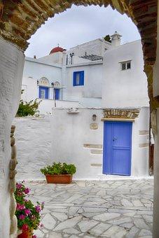 Greece, Island, Door, Tinos, Pyrgos, Dor, Church, Path