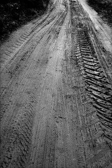 Path, Footprints, Tractor, Rain, Mud, Street, Field