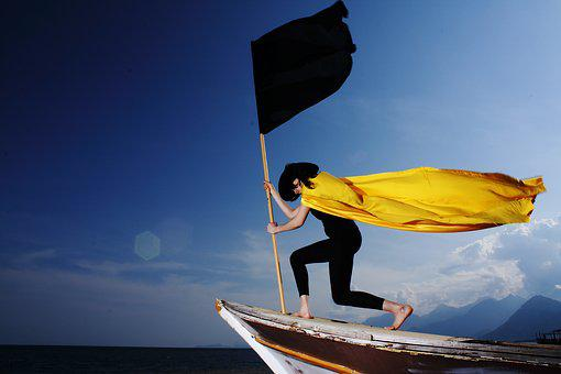 Yellow, Cape, Fabric, Woman, Flag, Black, Pirate, Icon
