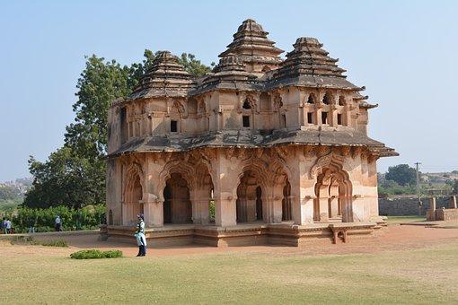 Hampi, Lotus, Mahal, Ancient, Architecture, Old