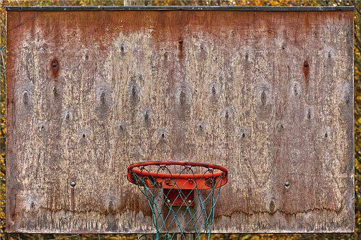 Basketball, Basket, Board, Weathered, Old Rusty