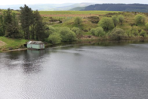 Wales, Landscape, Lake, Building, Boathouse, Trees