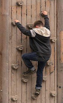 Climb, Climbing Wall, Boy, Climber, Climbing Holds