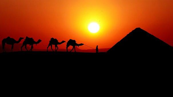 Sunset, Caravan, Camels, Bedoin, Pyramid, Dessert