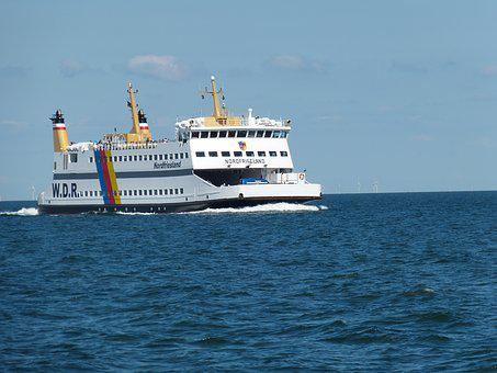 Amrum, Port, North Sea, Coast, Wadden Sea, Shipping